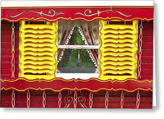 Gypsy Photographs Greeting Cards - Caravan window Greeting Card by Tom Gowanlock