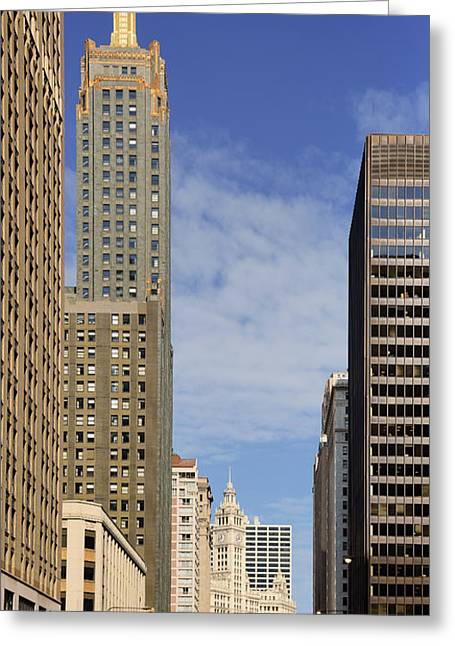 Tall Buildings Greeting Cards - Carbide and Carbon and Wrigley Building - Two Chicago Classics Greeting Card by Christine Till