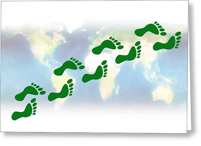 Global Awareness Greeting Cards - Carbon Footprint, Conceptual Artwork Greeting Card by Victor Habbick Visions