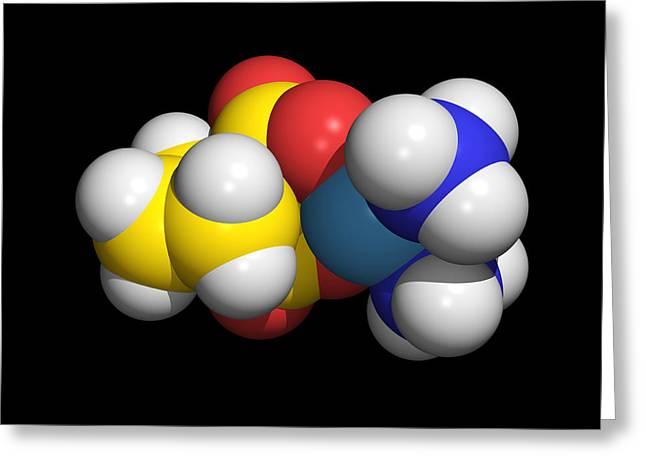 Organic Molecule Greeting Cards - Carboplatin Molecule, Cancer Drug Greeting Card by Dr Tim Evans
