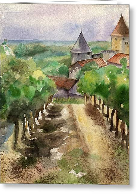 South Of France Greeting Cards - Carcassonne Greeting Card by Lydia Irving