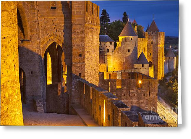 Languedoc Greeting Cards - Carcassonne Ramparts Greeting Card by Brian Jannsen