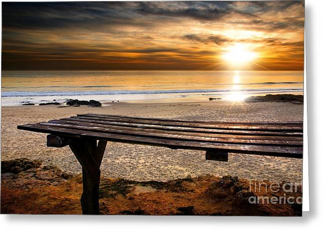 Sunset Abstract Greeting Cards - Carcavelos Beach Greeting Card by Carlos Caetano