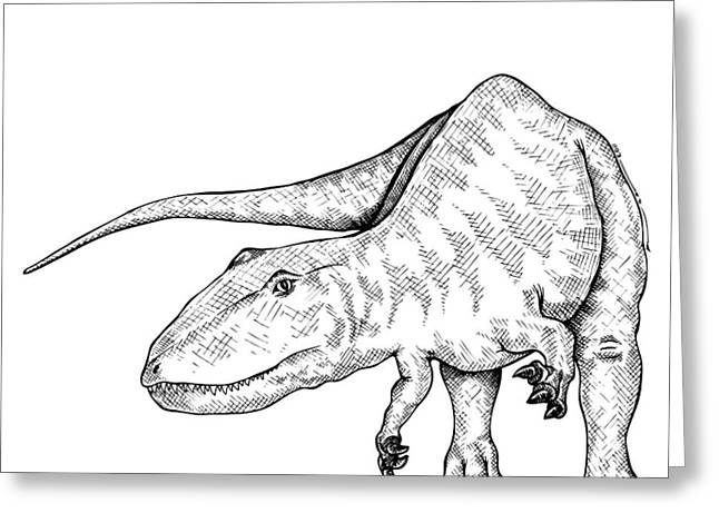 Ink Outlines Greeting Cards - Carcharodontosaurus - Dinosaur Greeting Card by Karl Addison