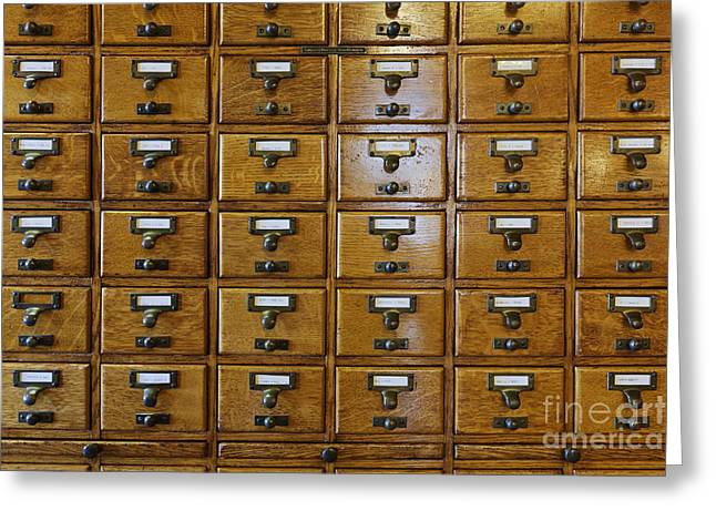 Catalog Greeting Cards - Card Catalog Drawers Greeting Card by Jeremy Woodhouse