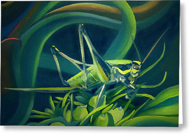 Grasshopper Paintings Greeting Cards - Card of Mister Grasshopper Greeting Card by Nancy Griswold