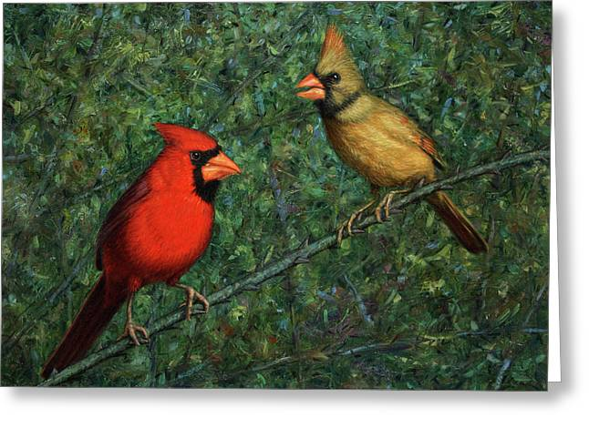 Cardinal Couple Greeting Card by James W Johnson