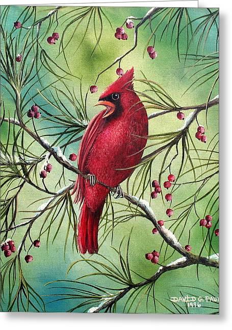 Berry Greeting Cards - Cardinal Greeting Card by David G Paul