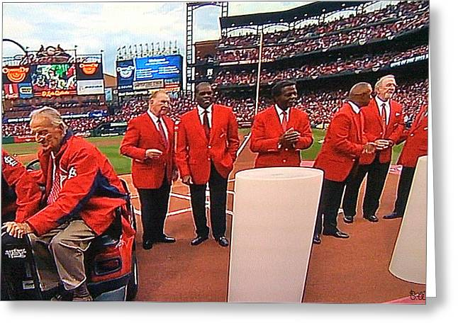 Bob Gibson Greeting Cards - Cardinal Hall of Famers - 2012 Greeting Card by Barbara Plattenburg