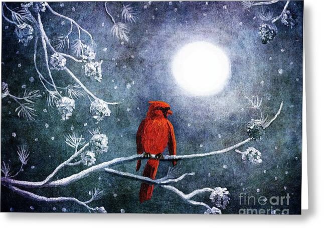 Cardinal On A Wintry Night Greeting Card by Laura Iverson