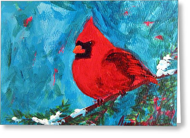 Baby Bird Greeting Cards - Cardinal Red Bird Greeting Card by Patricia Awapara