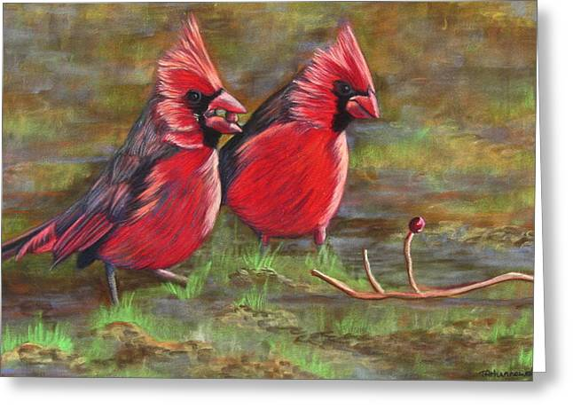 Feeding Pastels Greeting Cards - Cardinal Two Greeting Card by Tracey Hunnewell