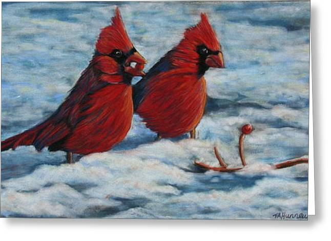 Male Cardinals In Snow Greeting Cards - Cardinals in winter Greeting Card by Tracey Hunnewell