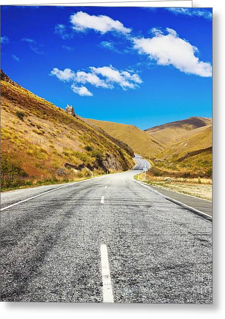 Scenic Drive Greeting Cards - Cardrona valley road Greeting Card by MotHaiBaPhoto Prints