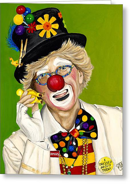 Palayso Greeting Cards - Careful the Clown Greeting Card by Patty Vicknair
