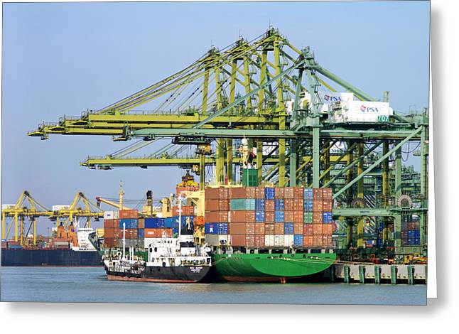 Large Scale Greeting Cards - Cargo Liners Docked At The Port Greeting Card by Justin Guariglia
