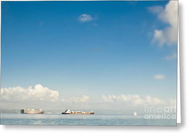Seagoing Greeting Cards - Cargo Ships on the Water Greeting Card by Eddy Joaquim