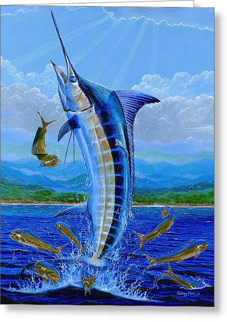 Negroes Paintings Greeting Cards - Caribbean Blue Greeting Card by Carey Chen