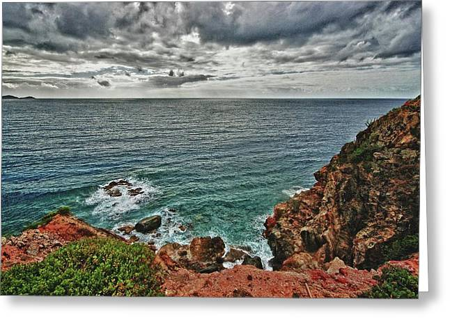 Crimson Tide Greeting Cards - Caribbean Cliff view Greeting Card by Michael Thomas