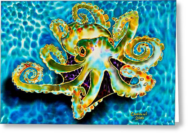 Stretched Canvas Tapestries - Textiles Greeting Cards - Caribbean Octopus Greeting Card by Daniel Jean-Baptiste