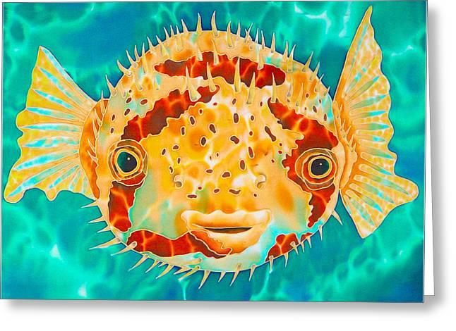 Caribbean Art Tapestries - Textiles Greeting Cards - Caribbean Puffer Greeting Card by Daniel Jean-Baptiste