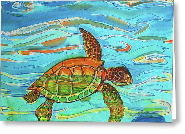 Island Tapestries - Textiles Greeting Cards - Caribbean Sea Turtle  Greeting Card by Kelly     ZumBerge