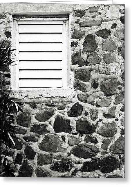 Louver Greeting Cards - Caribbean stone wall with window in black and white Greeting Card by Anya Brewley schultheiss