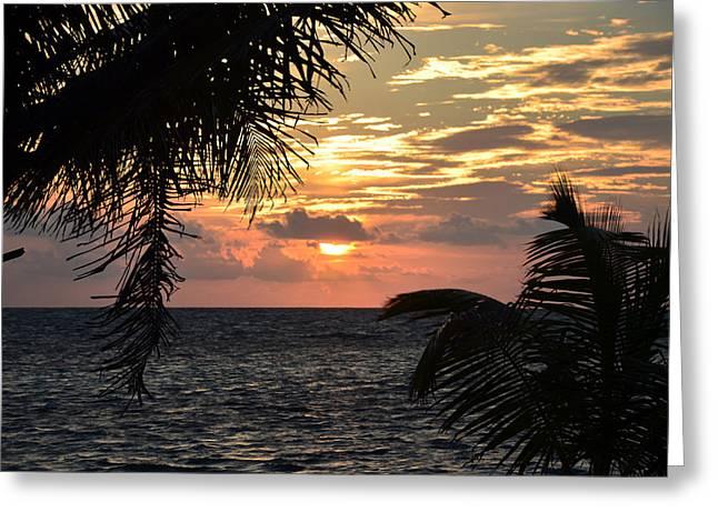 Stiltsville Greeting Cards - Caribbean Sunrise Greeting Card by Ken  Collette