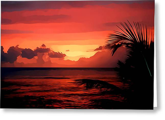 Caribbean Sunset Greeting Cards - Caribbean Sunset Greeting Card by Gareth Davies