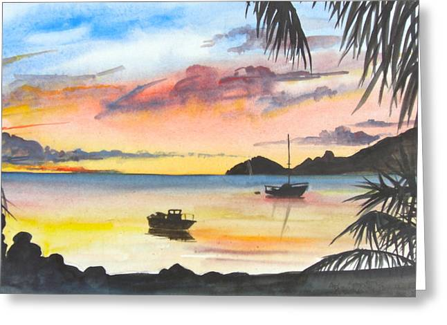 Sailboats In Harbor Drawings Greeting Cards - Caribbean Sunset Greeting Card by Lisa Wright