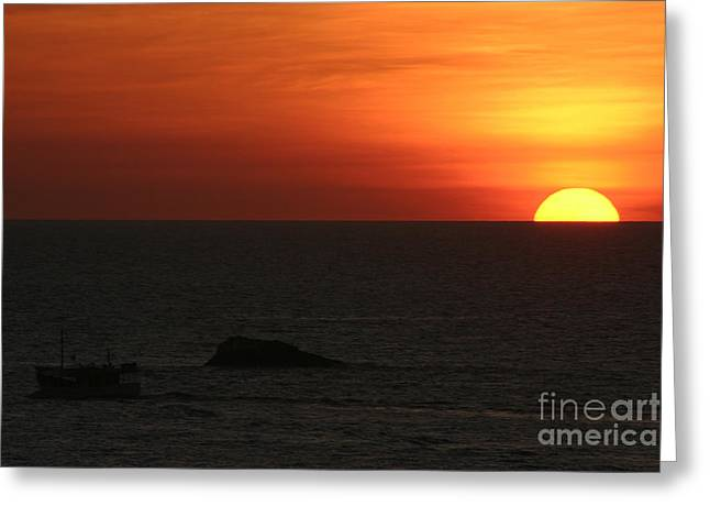 Twilight Pyrography Greeting Cards - Caribbean Sunset Greeting Card by Torsten Dietrich