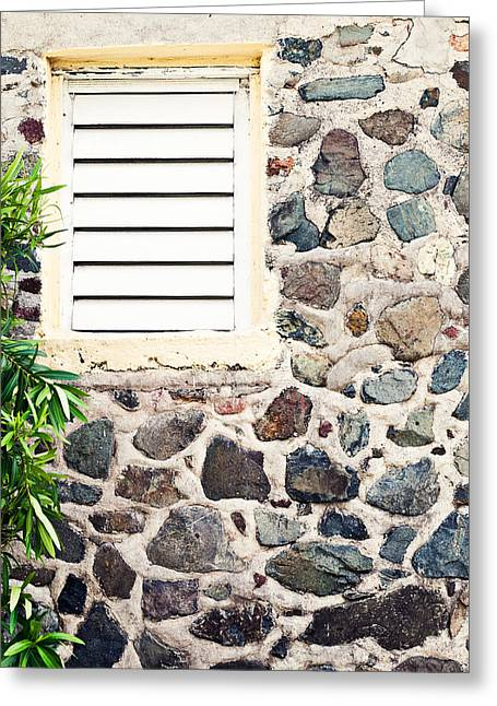 Louver Greeting Cards - Caribben stone wall with window Greeting Card by Anya Brewley schultheiss