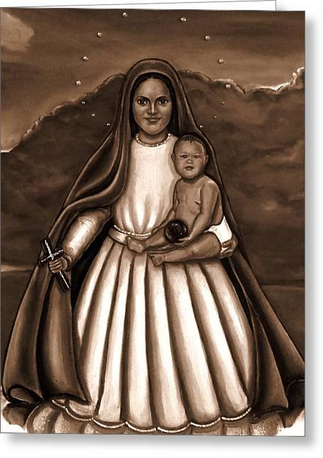 Caridad Del Cobre Greeting Cards - Caridad del Cobre in Black and White Greeting Card by Carmen Cordova