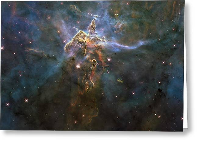 Starforming Greeting Cards - Carina Nebula Star-forming Pillars Greeting Card by Stocktrek Images