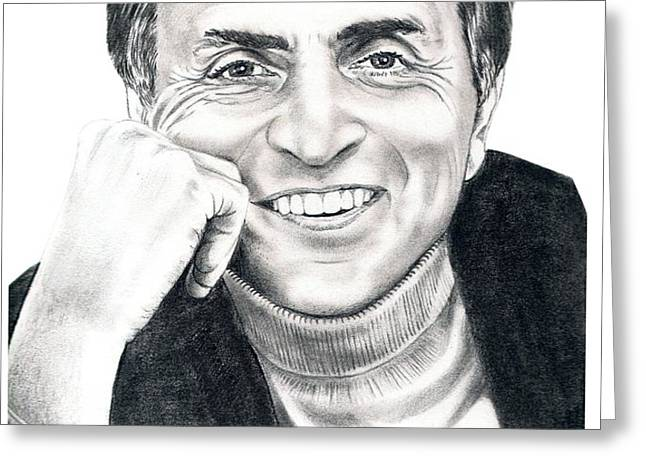 Carl Sagan Greeting Card by Murphy Elliott