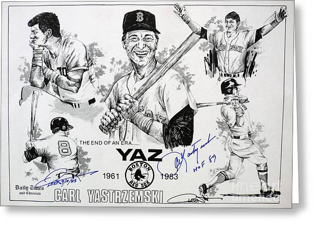 Hall Of Fame Drawings Greeting Cards - Carl Yastrzemski Retirement Tribute Newspaper Poster Greeting Card by Dave Olsen