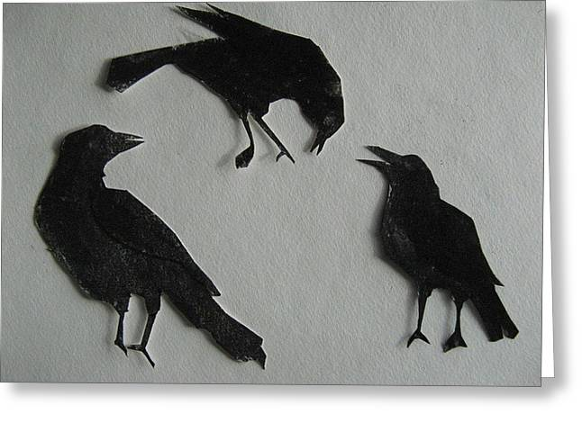 Carl's Crows Greeting Card by Betty Pieper