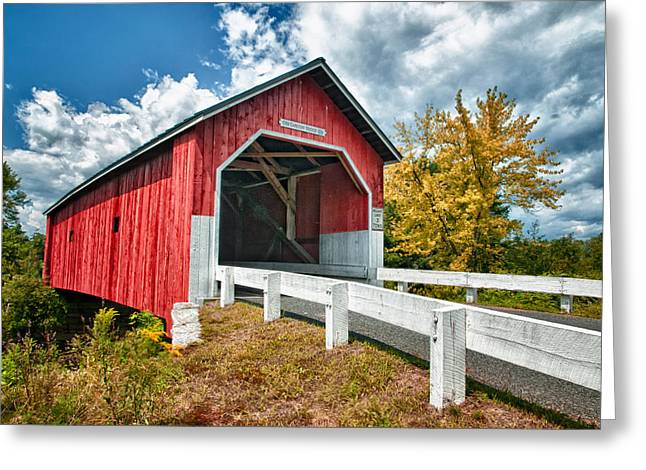 Covered Bridge Greeting Cards - Carlton Bridge Greeting Card by Fred LeBlanc