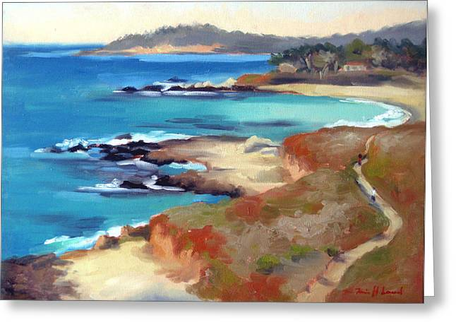 Pleinair Greeting Cards - Carmel Beach Greeting Card by Karin  Leonard