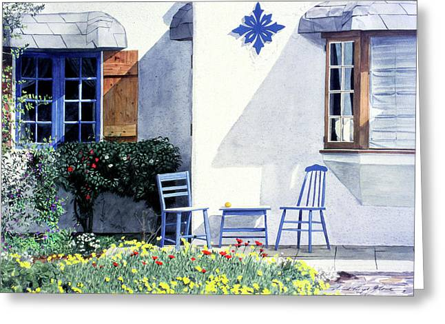 Garden Scene Greeting Cards - Carmel Cottage with Orange Greeting Card by David Lloyd Glover