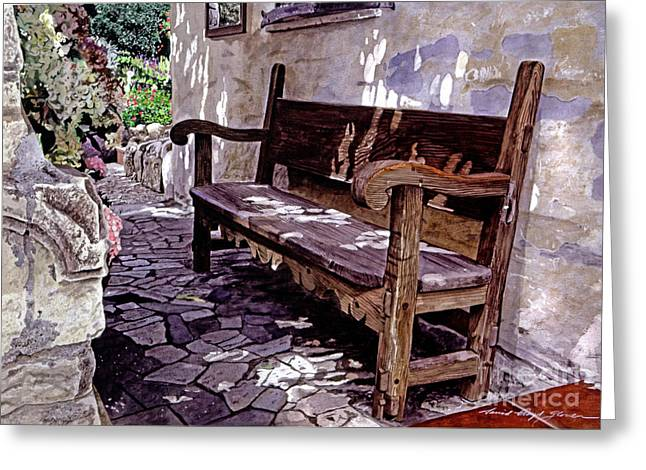 Carmel Greeting Cards - Carmel Mission Bench Greeting Card by David Lloyd Glover