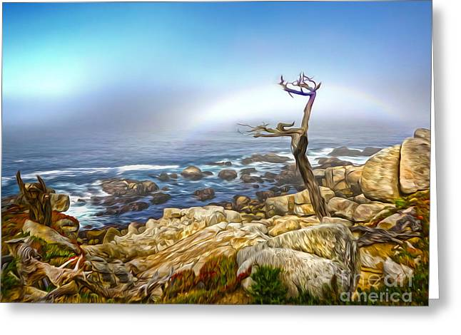 Gregory Dyer Greeting Cards - Carmel Rainbow Seascape - 02 Greeting Card by Gregory Dyer