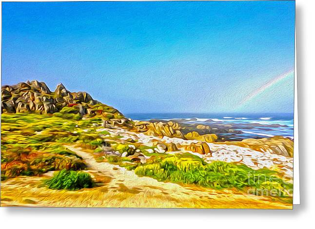 Gregory Dyer Greeting Cards - Carmel Rainbow Seascape Greeting Card by Gregory Dyer