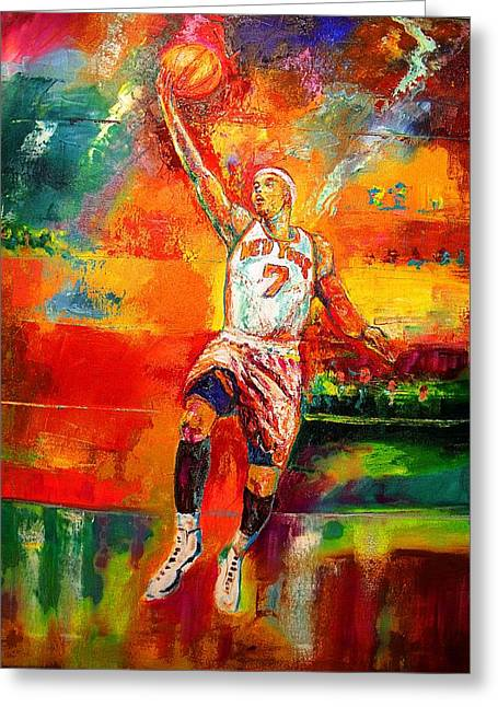 Knicks Greeting Cards - Carmelo Anthony New York Knicks Greeting Card by Leland Castro