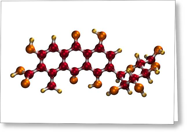 Food Scare Greeting Cards - Carmine Food Colouring Molecule Greeting Card by Dr Mark J. Winter