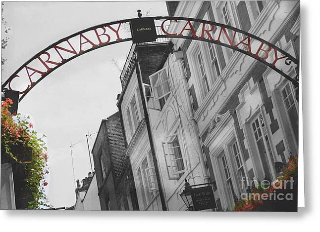 Red Geraniums Mixed Media Greeting Cards - Carnaby Street London III Greeting Card by Louise Fahy