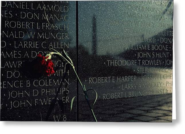 Bravery Greeting Cards - Carnation Left At The Vietnam Veterans Greeting Card by Medford Taylor
