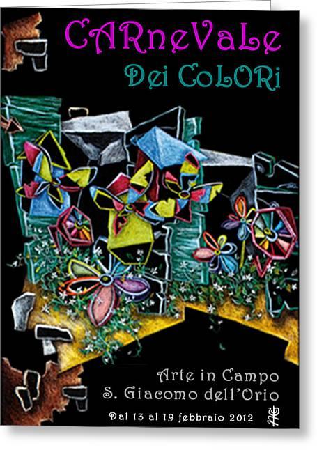 Print Tapestries - Textiles Greeting Cards - Carnevale dei Colori - Venezia Greeting Card by Arte Venezia