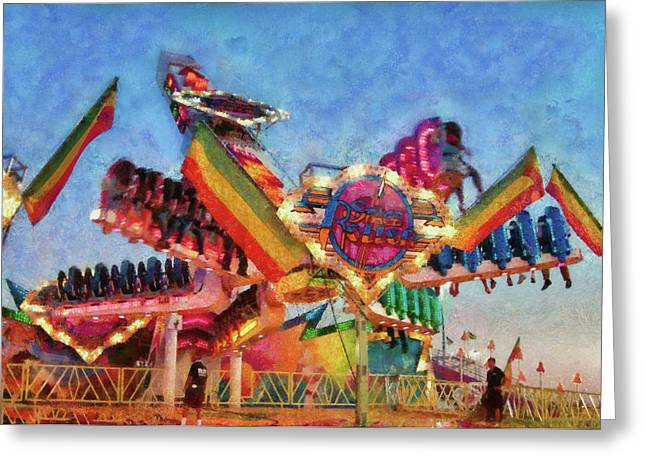 Customizable Greeting Cards - Carnival - A most colorful ride Greeting Card by Mike Savad