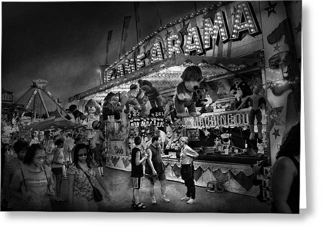 Freak Show Greeting Cards - Carnival - Game-A-Rama Greeting Card by Mike Savad
